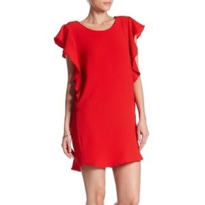 Red Ruffle Sleeve Dress